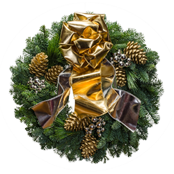 Christmas wreaths with silver ornaments and  extra wide gold and silver shiny bow