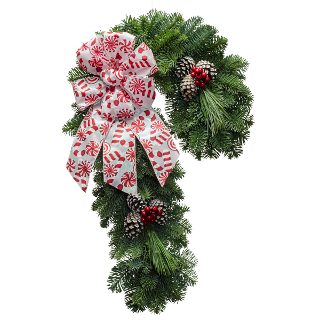 Candy cane shaped fresh Christmas wreath with a red and white bow
