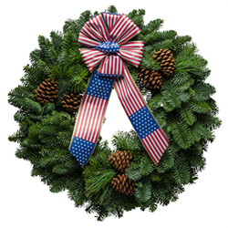 Patriotic fresh Christmas wreaths with  red, white & blue bows