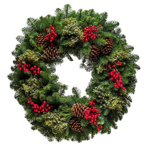 Woodland Christmas Wreath | Extra full wreath with Red and Blue Berries