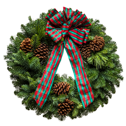 Fresh Christmas Wreath with Green Tartan Plaid Bow