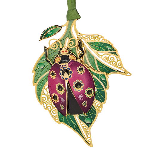 Ladybug Ornament | Purple Ladybug on a Leaf