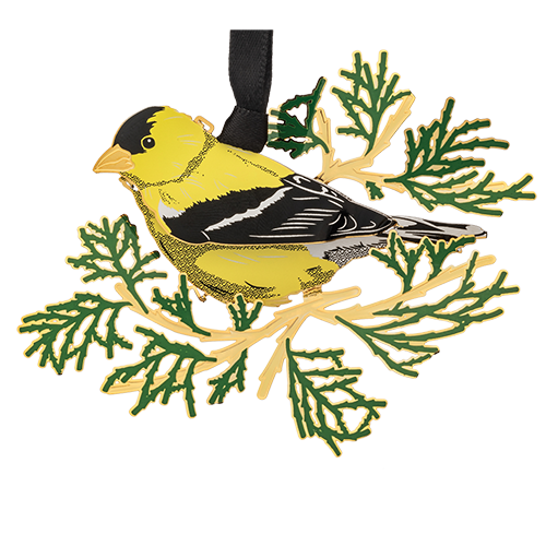 Goldfinch Ornament | Yellow bird on tree branch