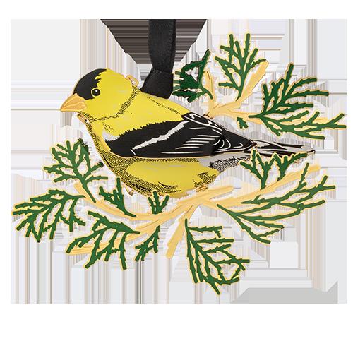 Goldfinch Ornament | Yellow bird on tree branch