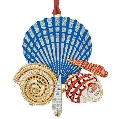 Seashells Ornament | Pretty hand painted seashell collage